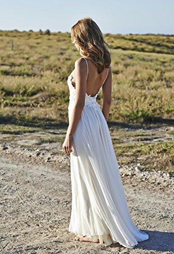 NUOJIA Sexy Rückenfrei Chiffon Spitzen Boho Böhmischen Brautkleider Strand Lange hochzeitskleid Weiß 36 - 2