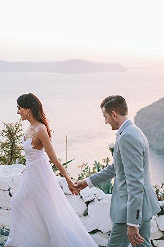 NUOJIA Sexy Rückenfrei Chiffon Spitzen Boho Böhmischen Brautkleider Strand Lange hochzeitskleid Weiß 36 - 5