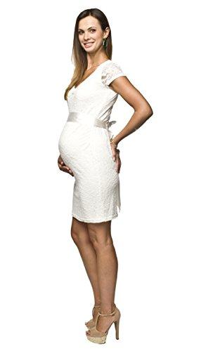 Elegantes und bequemes Umstandskleid, Brautkleid, Hochzeitskleid für Schwangere Modell: Lace, weiss/creme, M - 2