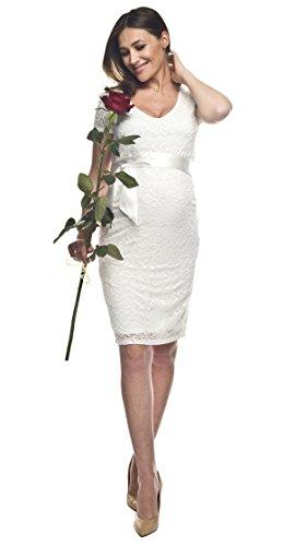 Elegantes und bequemes Umstandskleid, Brautkleid, Hochzeitskleid für Schwangere Modell: Lace, weiss/creme, M - 4