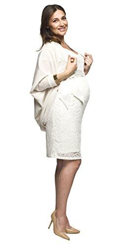 Elegantes und bequemes Umstandskleid, Brautkleid, Hochzeitskleid für Schwangere Modell: Lace, weiss/creme, M - 5