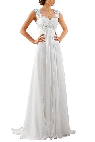Erosebridal Spitze Chiffon Strand Hochzeitskleid