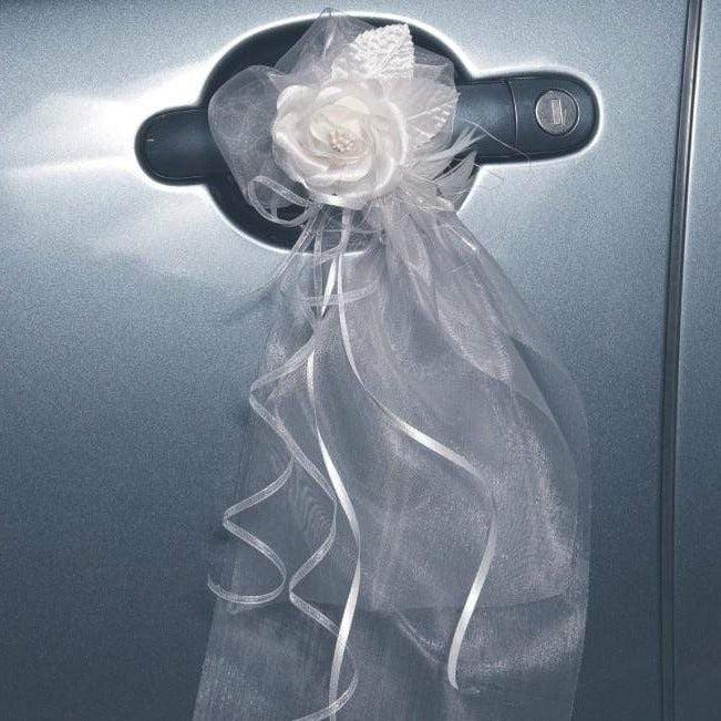 Autoschleife Organza mit Blüte (2 Stück)