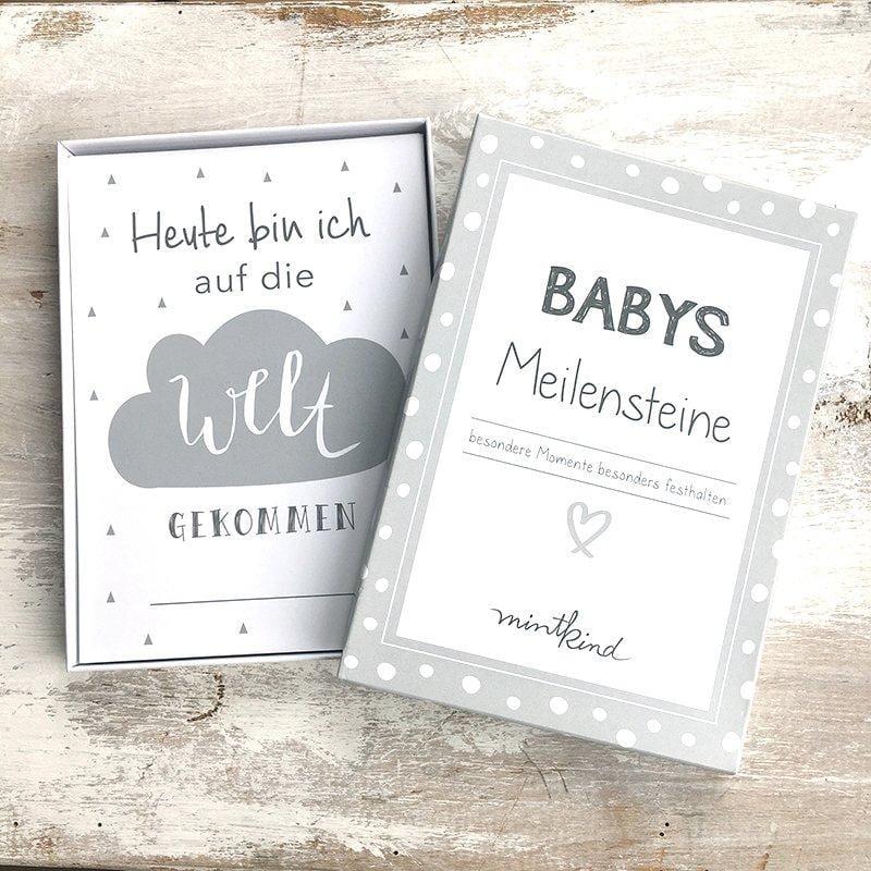 Baby Meilensteinkarten grau