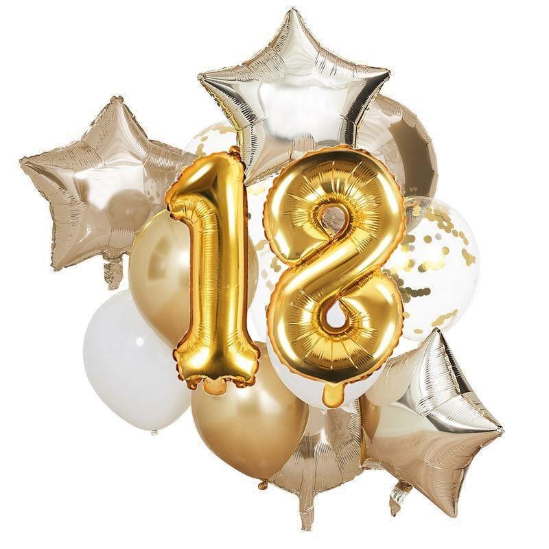 Ballon Deko Set 18. Geburtstag gold (14 Stück)