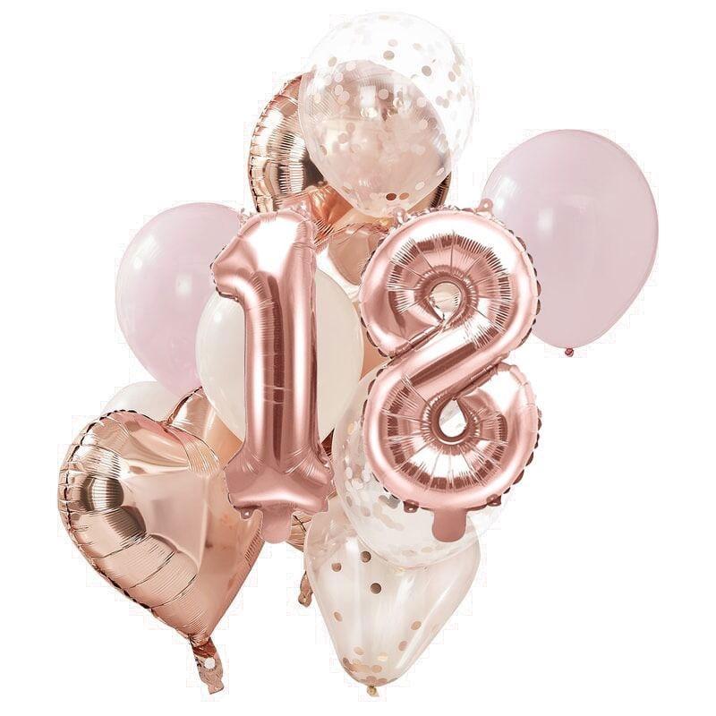 Ballon Deko Set 18. Geburtstag rosegold (14 Stück)