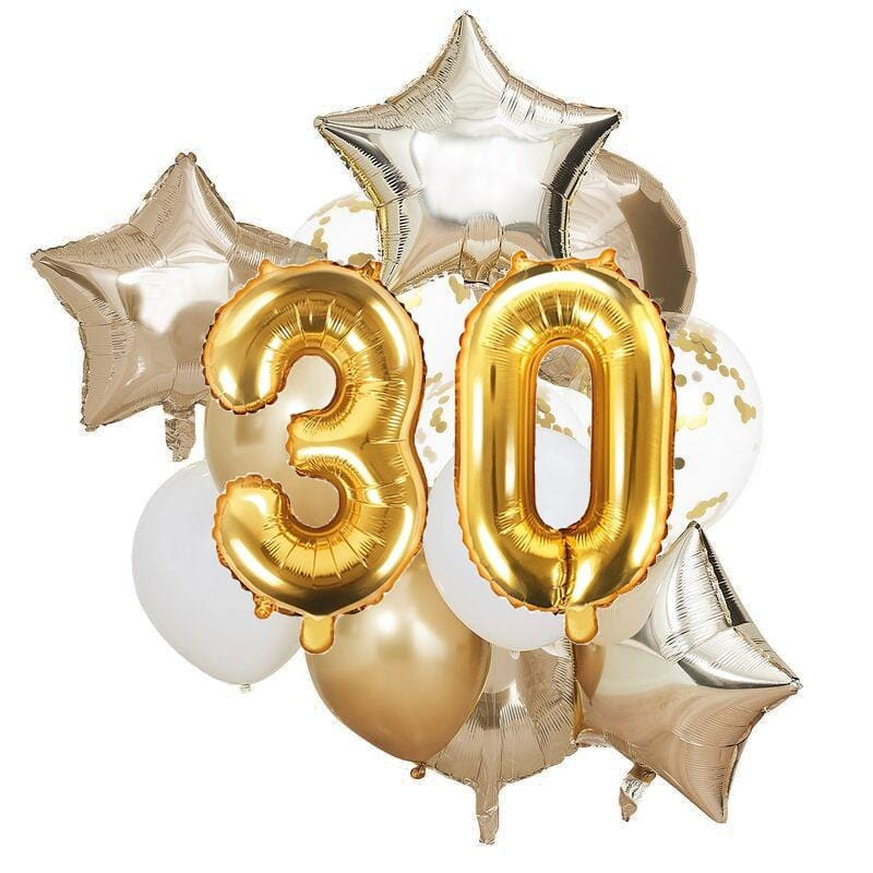 Ballon Deko Set 30. Geburtstag gold (14 Stück)