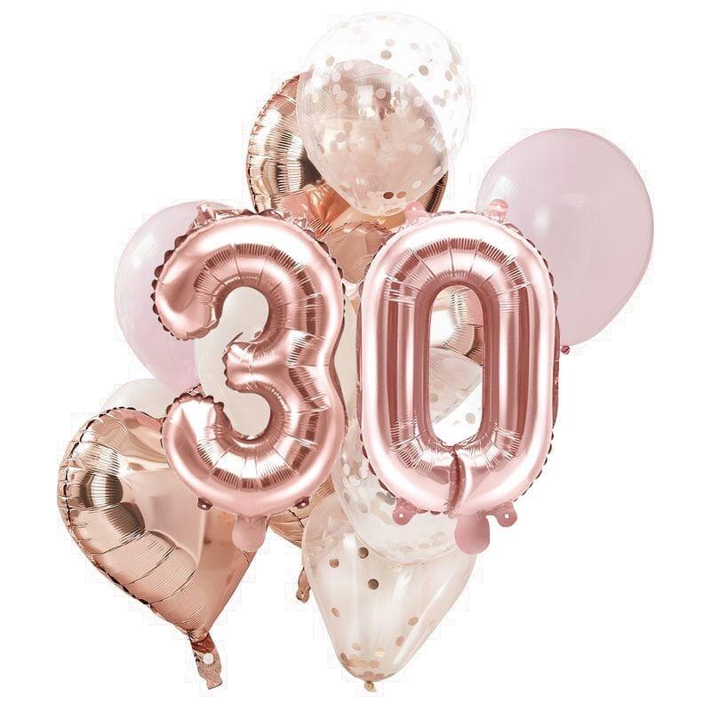 Ballon Deko Set 30. Geburtstag rosegold (14 Stück)