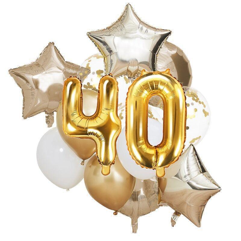 Ballon Deko Set 40. Geburtstag gold (14 Stück)