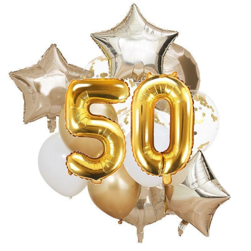Ballon Deko Set 50. Geburtstag gold (14 Stück)