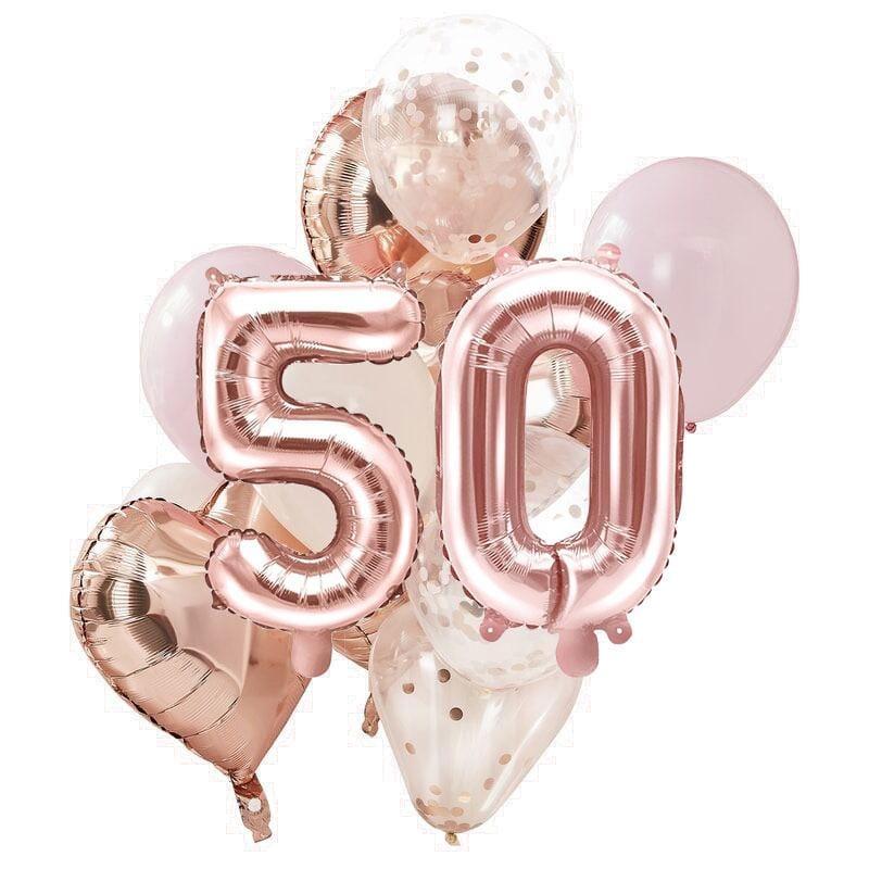 Ballon Deko Set 50. Geburtstag rosegold (14 Stück)