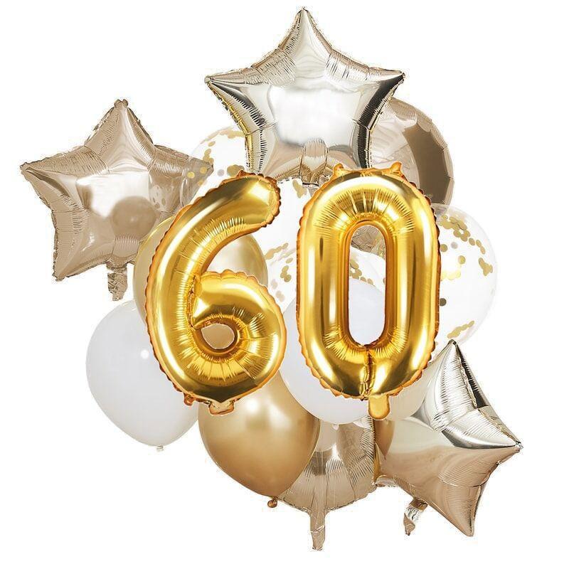 Ballon Deko Set 60. Geburtstag gold (14 Stück)