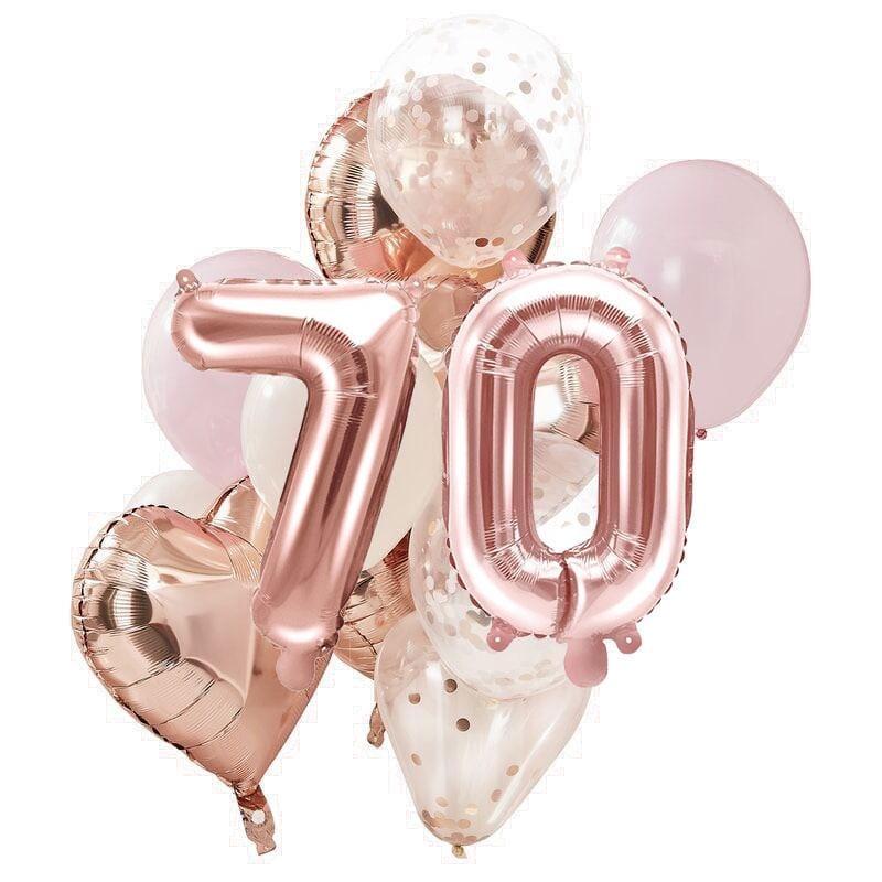 Ballon Deko Set 70. Geburtstag rosegold (14 Stück)