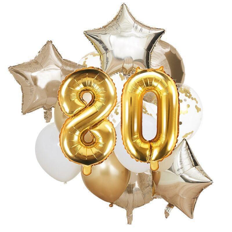 Ballon Deko Set 80. Geburtstag gold (14 Stück)