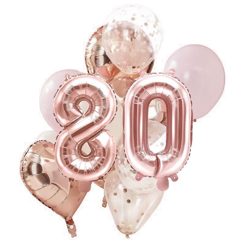 Ballon Deko Set 80. Geburtstag rosegold (14 Stück)