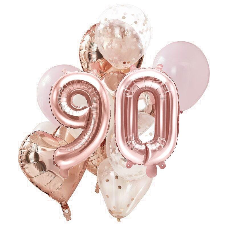 Ballon Deko Set 90. Geburtstag rosegold (14 Stück)