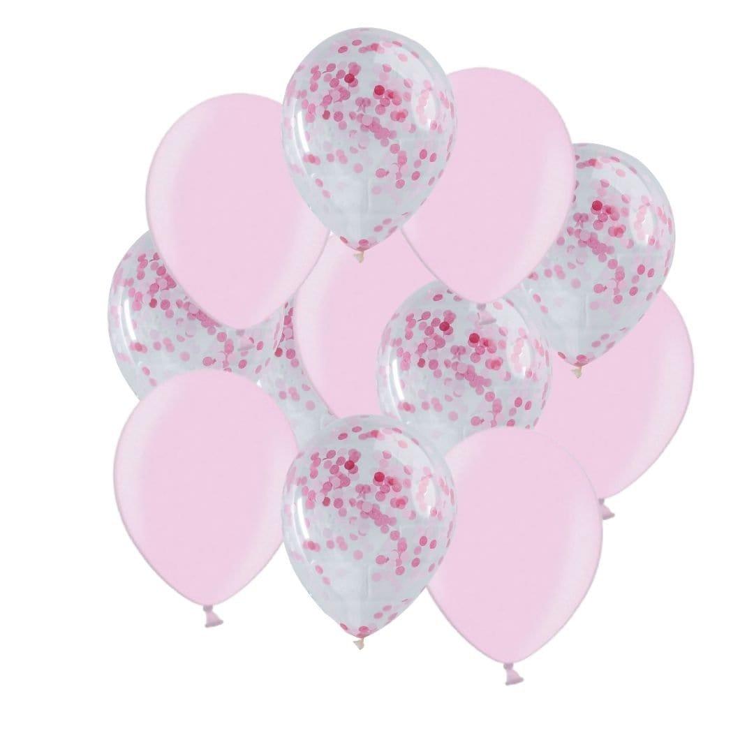 Ballon Deko Set Konfettiballons rosa/pink (30-teilig)