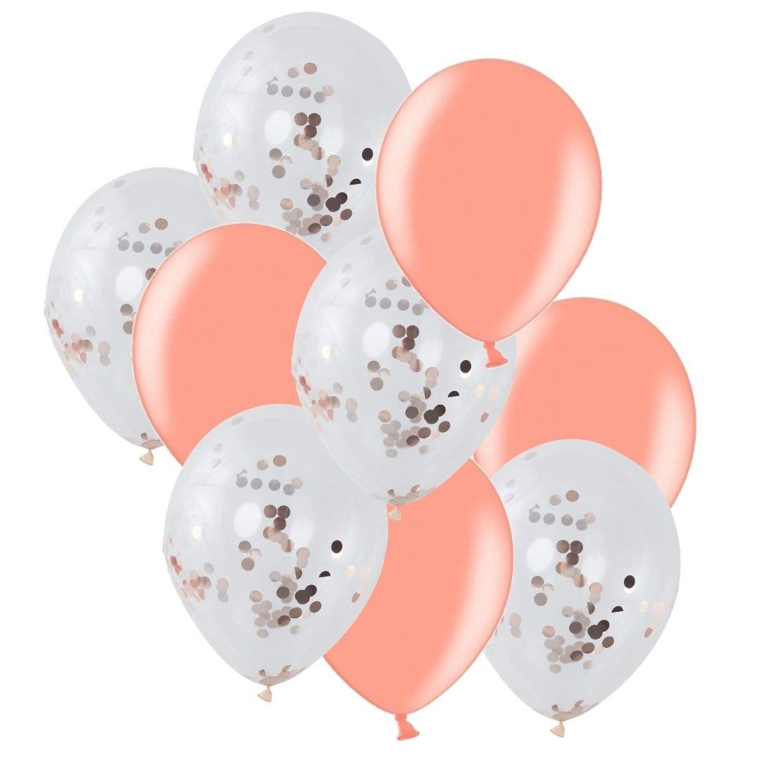 Ballon Deko Set Konfettiballons rosegold (30-teilig)