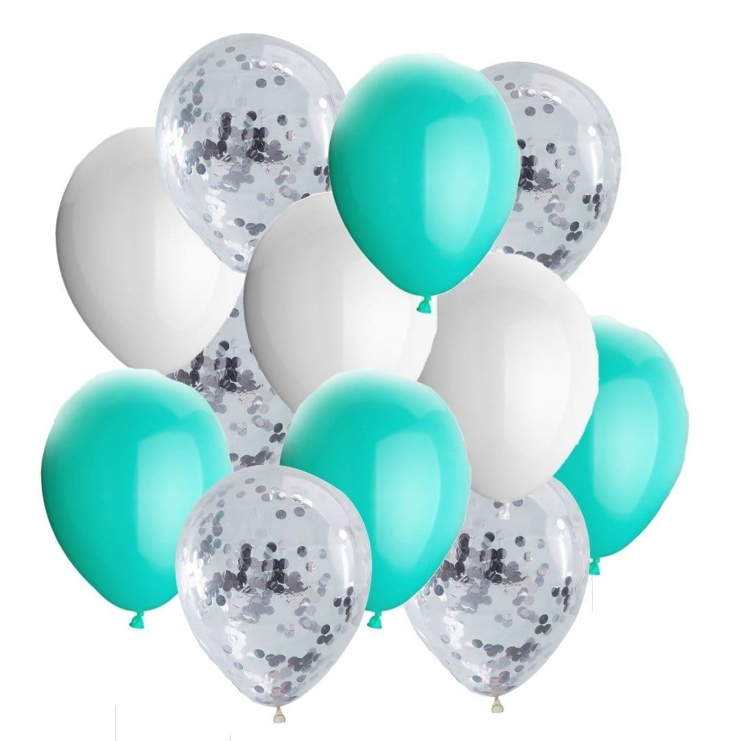 Ballon Deko Set Konfettiballons türkis / silber / weiß (30-teilig)