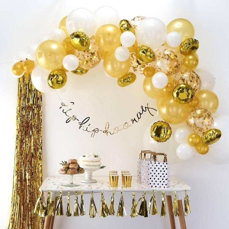 Ballongirlande Set Farbmix gold (70-teilig)