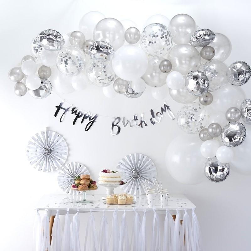 Ballongirlande Set Farbmix silber (70-teilig)