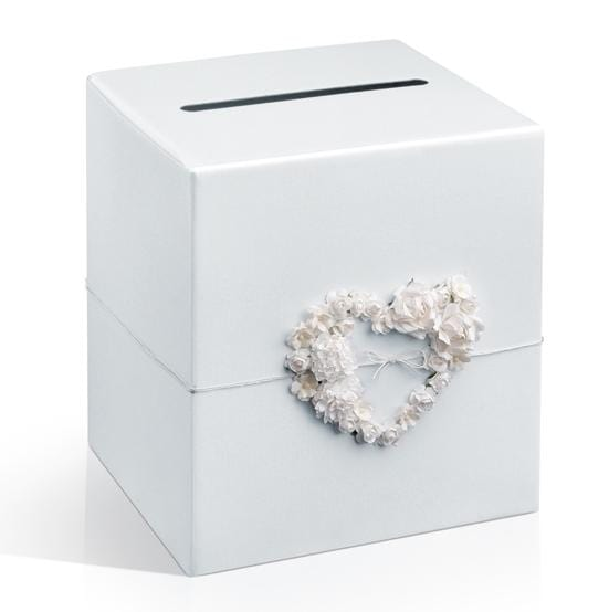 "Briefbox ""Rosenherz"" - perlweiß"