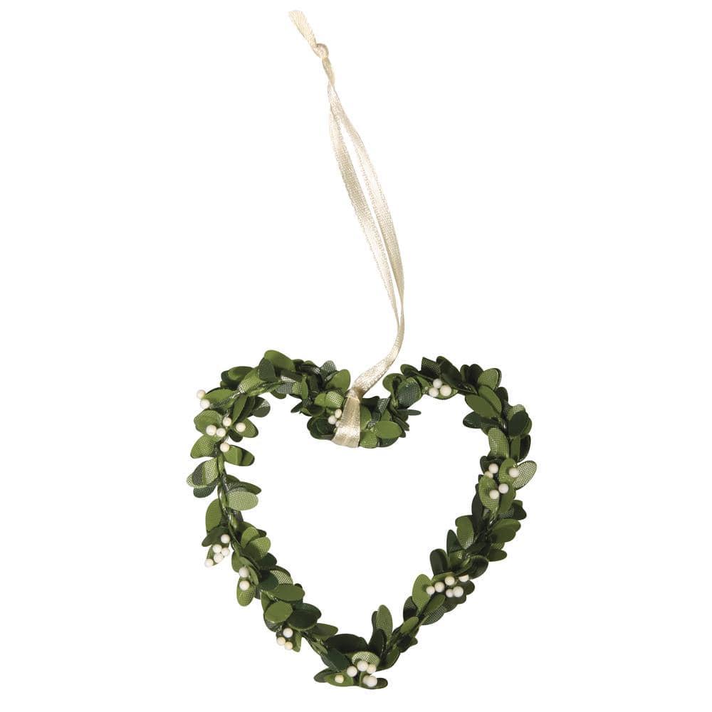 Buchs-Herz mit Aufhänger, 7,5 cm (4 Stück)