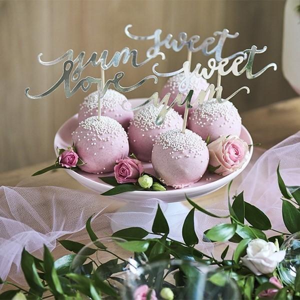 "Cupcake Stecker ""Love"", ""Yum"", ""Sweet"", silber"