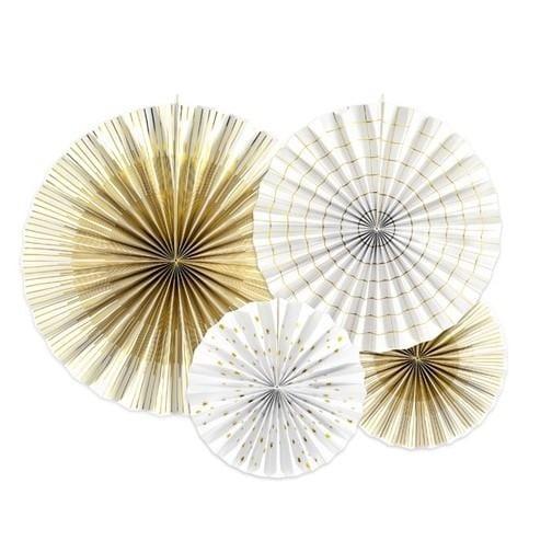 Deko Rosetten - gold / weiß
