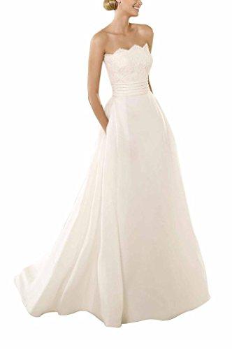 GEORGE BRIDE Oval-Ausschnitt A-Linie Spitze Mantel Brautkleider Hochzeitskleider, Groesse 38, Elfenbein -