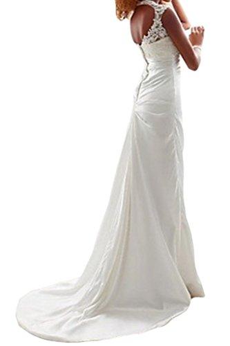 Victory Bridal Einfach Weiss Damen Hochzeitskleider Brautkleider Lang Schmaler Brautmode V Ausschnitt-34 Weiss -