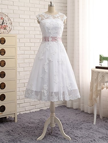 Erosebridal Knielangen Spitze Brautkleid Abendkleid DE 36 Weiß -