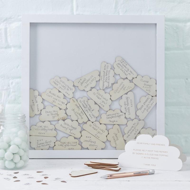 """Gästebuch """"Rahmen mit Holzwolken"""" - weiß"""