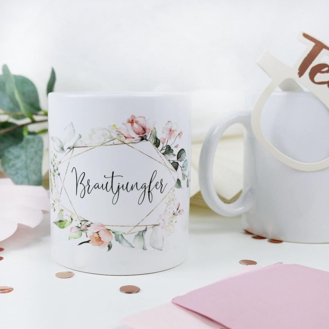 Geschenk Tasse für Deine Brautjungfer Blütenzauber