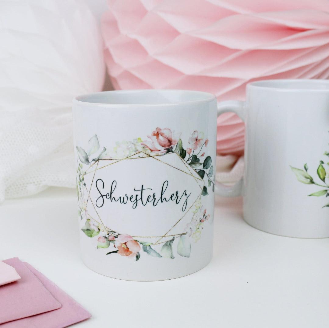 Geschenk Tasse für Dein Schwesterherz Blütenzauber