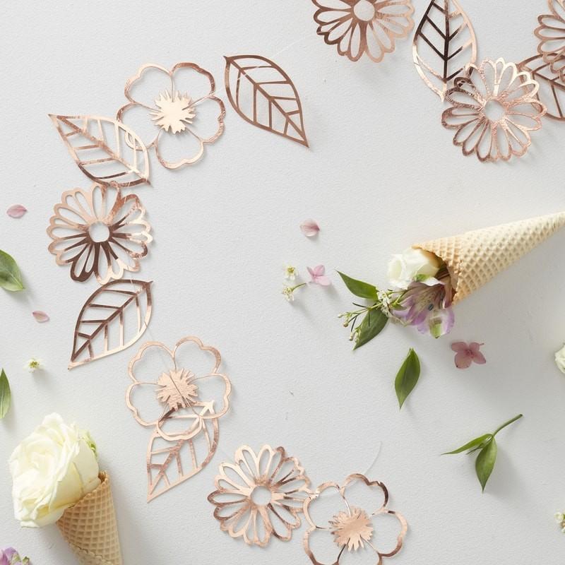"Girlande ""Blumen"" -  rosegold"