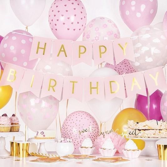 "Girlande ""Happy Birthday"" - rosa/gold"