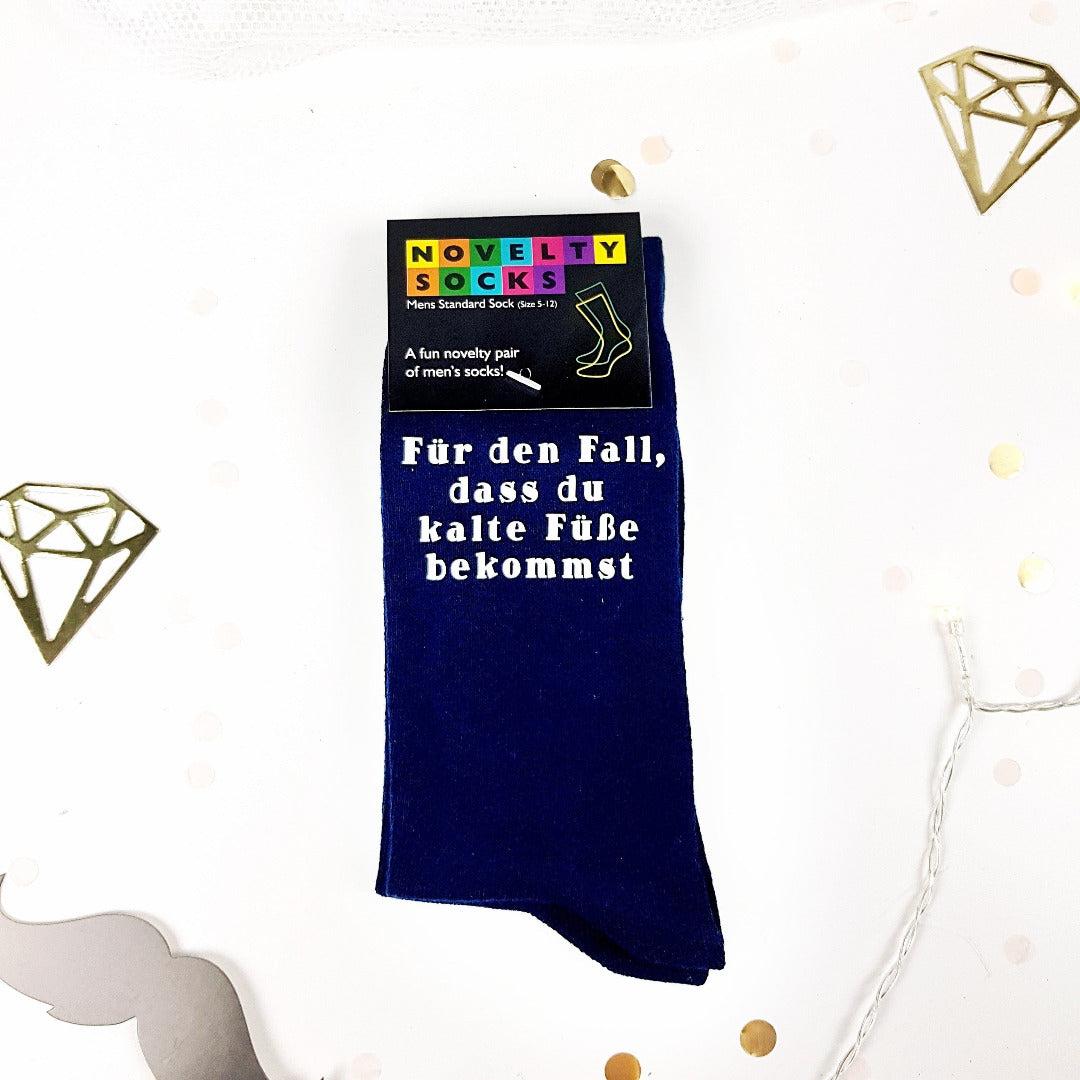 """Hochzeit Socken """"Für den Fall..."""" marine"""