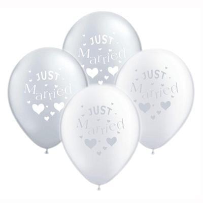 "Hochzeitsballons ""Just Married"" (10 Stück) - silber * weiß"