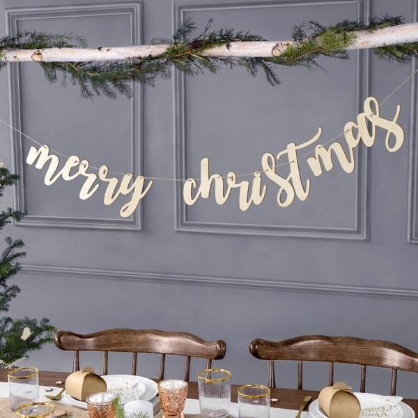 Holz Girlande merry christmas