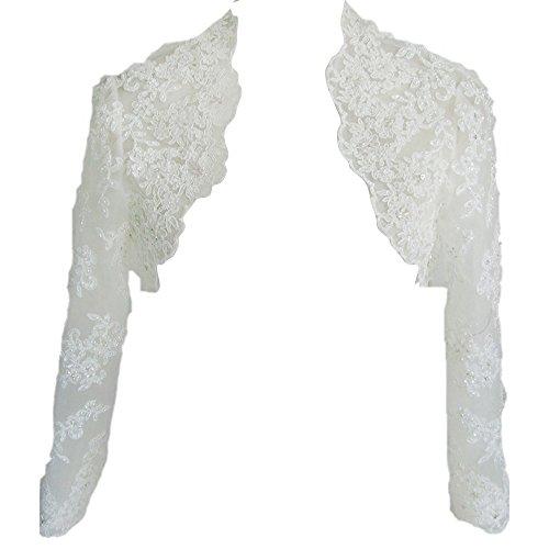 HWAN Hochzeitsjacke mit langen Spitzenärmeln, weiß