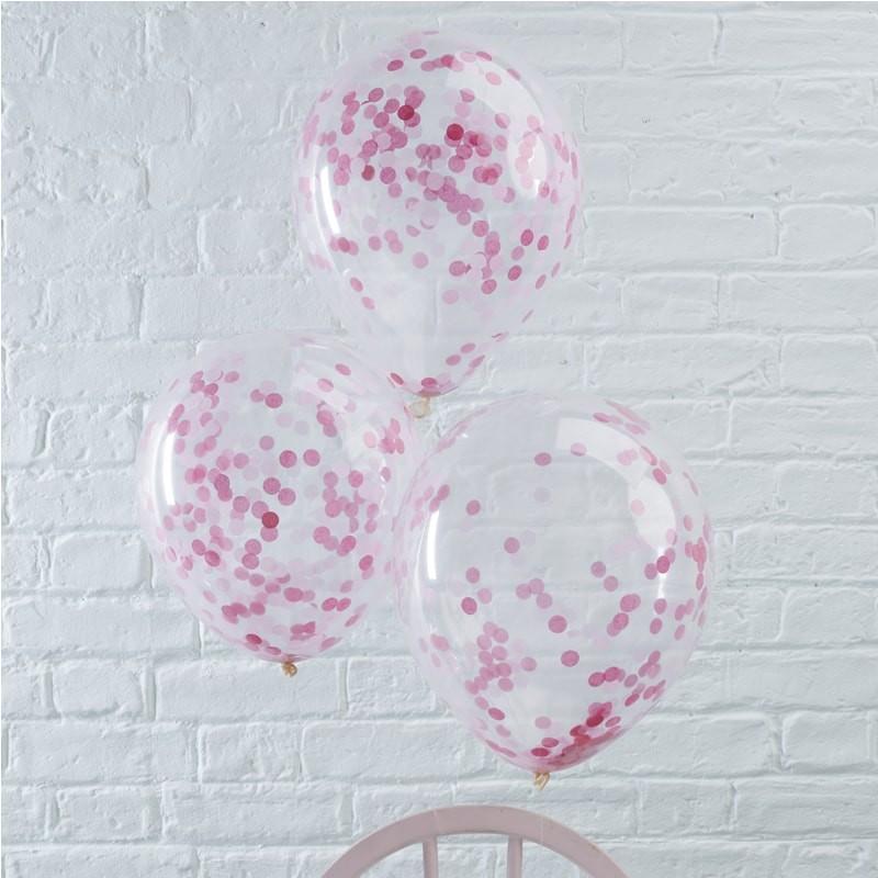 Konfetti Ballons (5 Stück) - pink