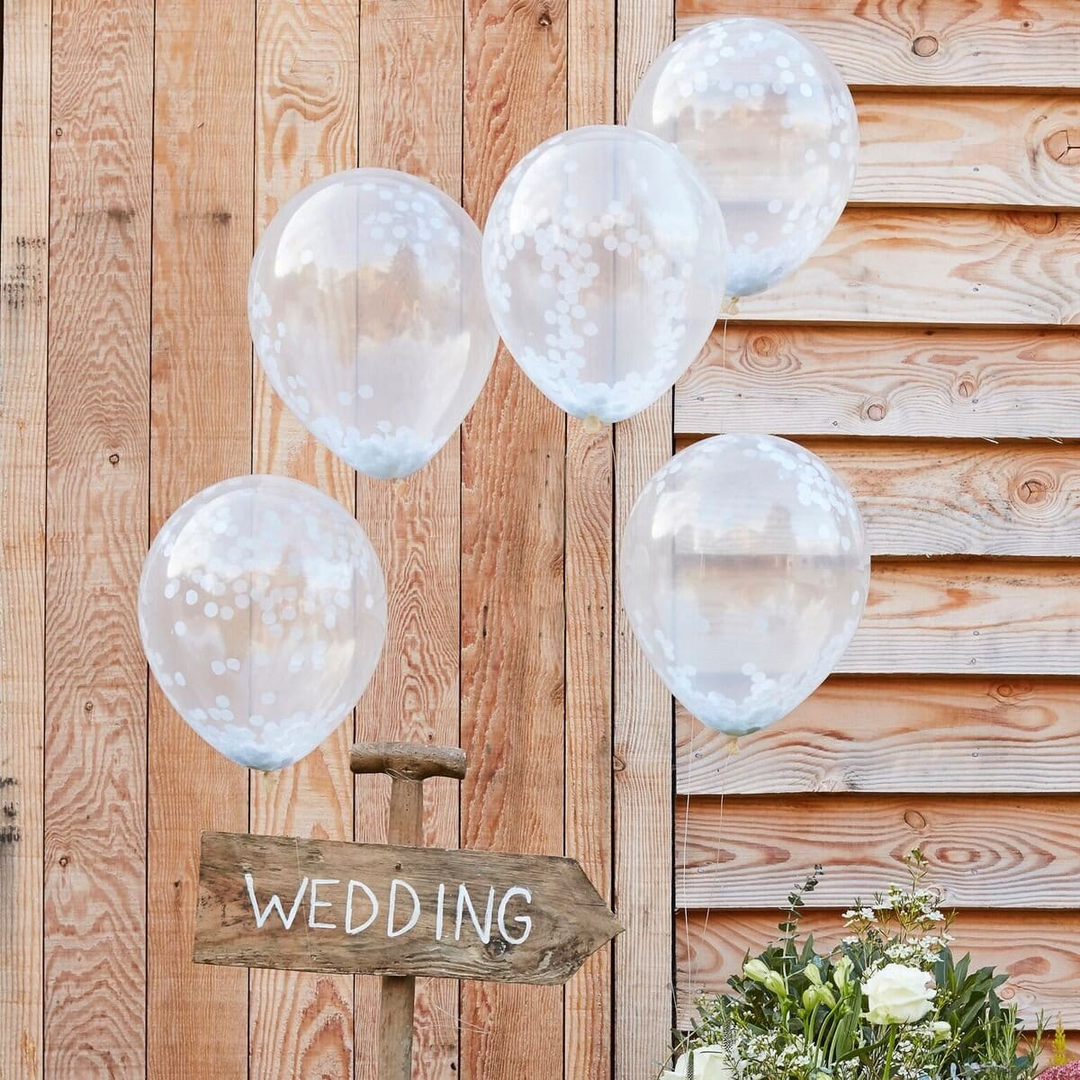 Konfetti Ballons (5 Stück) - weiß