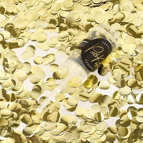 "Mini Konfetti Kanone ""Push"" - gold metallic"