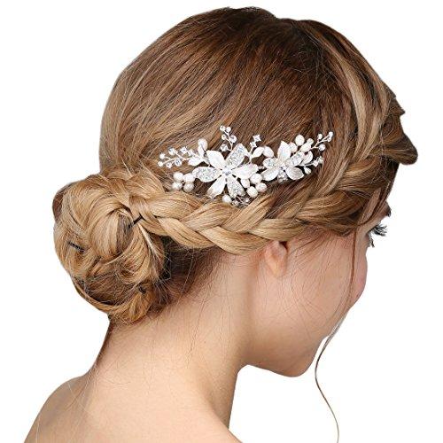 Damen Kristall Strass Perlen Haarekämmen Blume Haarschmuck