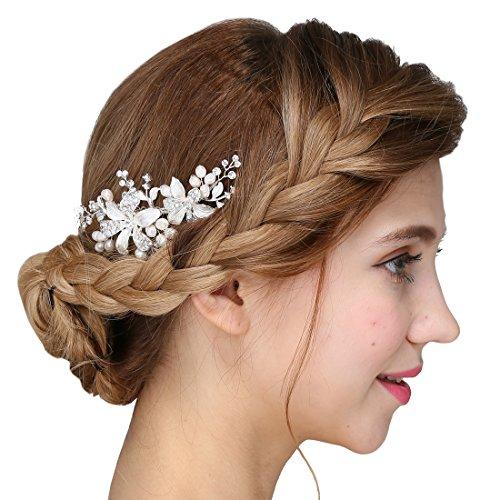 Damen Kristall Strass Perlen Haarekämmen Blume Haarschmuck Hochzeit -