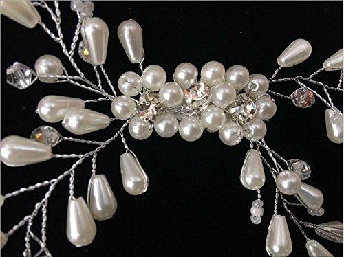 Musuntas Eleganter Luxus Retro elegant Damen Perlen Strass Hochzeit Brautschmuck Braut Haarschmuck Strass Haarklammer -