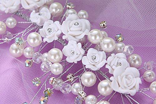 Musuntas Eleganter Luxus Retro elegant Damen Blumen Perlen Strass Hochzeit Brautschmuck Braut Haarschmuck Strass Haarklammer -