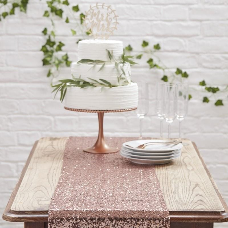 Pailletten Tischläufer rosegold
