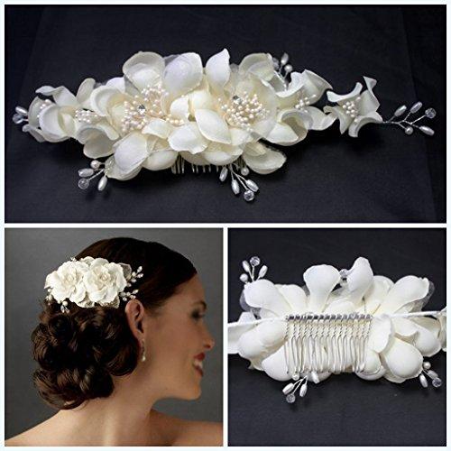 Miya® 1Stück mega Glamour Braut-Haarkamm mit Tüllblumen aus Spitze